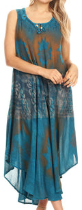 Sakkas Laramie Short Sleeve Stonewashed Ethnic Print Dress with Embroidery#color_Turquoise