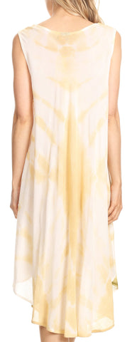 Sakkas Nisa Sleeveless Summer Caftan Kaftan Tie-dye Cover-up Dress Light & Breezy
