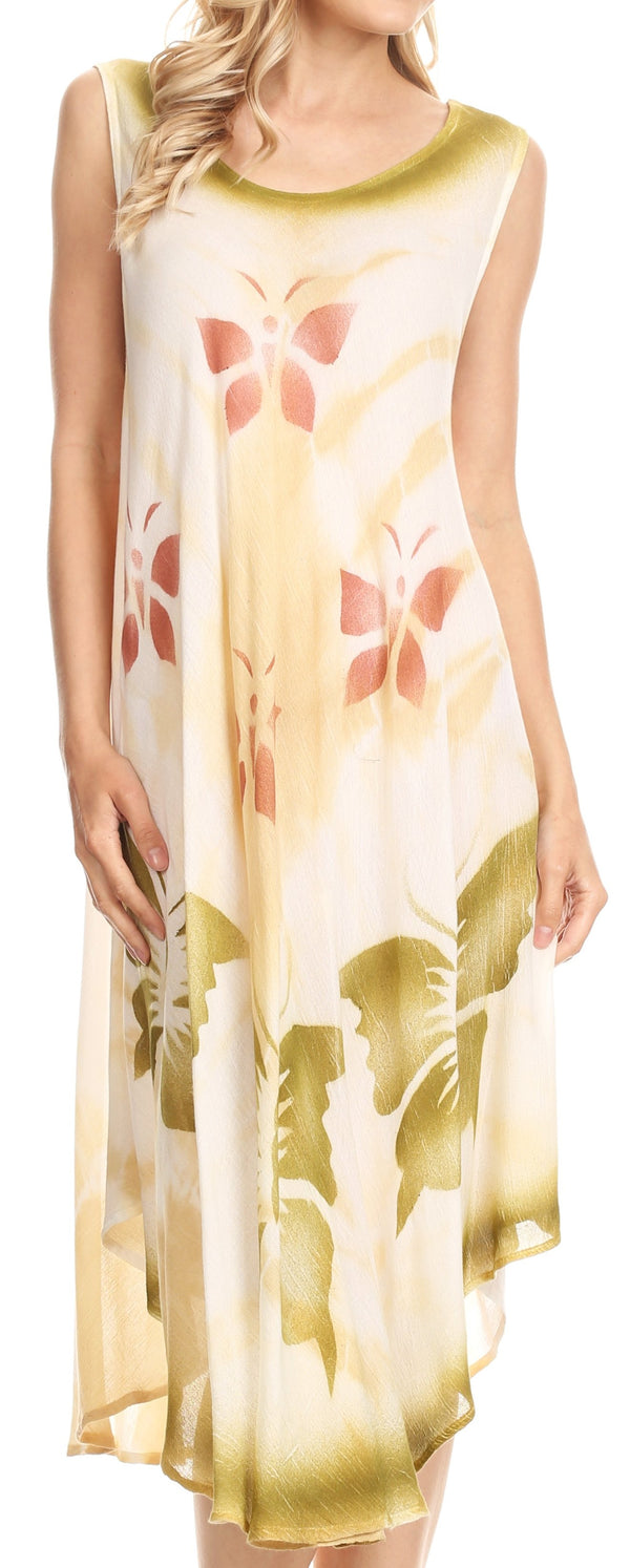 Sakkas Nisa Sleeveless Summer Caftan Kaftan Tie-dye Cover-up Dress Light & Breezy #color_Beige