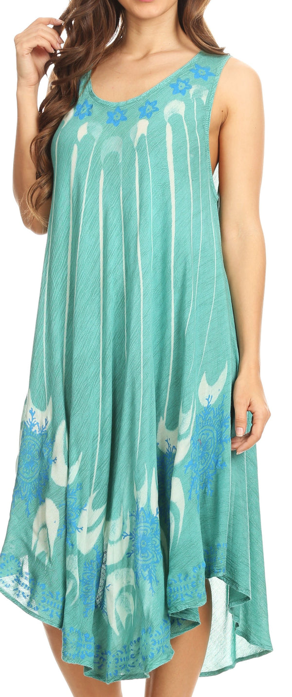 Sakkas Ecrin Women Tie-dye Sleeveless Stonewashed Caftan Cover up Dress Flowy#color_Aqua