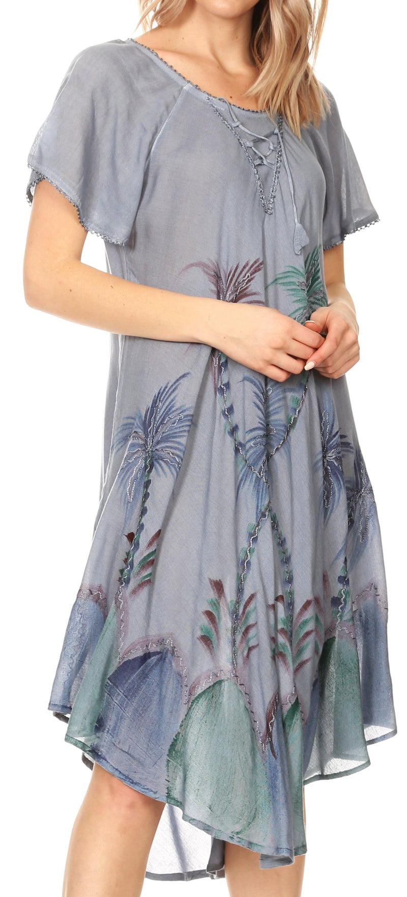 Sakkas Lida Womens Everyday Summer Relaxed Dress with Short Sleeves & Block Print