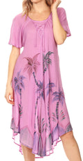 Sakkas Lida Womens Everyday Summer Relaxed Dress with Short Sleeves & Block Print#color_19315-LtPurple