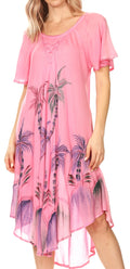 Sakkas Lida Womens Everyday Summer Relaxed Dress with Short Sleeves & Block Print#color_19315-Pink