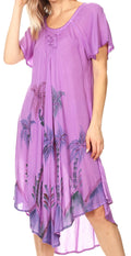 Sakkas Lida Womens Everyday Summer Relaxed Dress with Short Sleeves & Block Print#color_19315-Purple