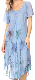 Sakkas Lida Womens Everyday Summer Relaxed Dress with Short Sleeves & Block Print#color_19315-SkyBlue