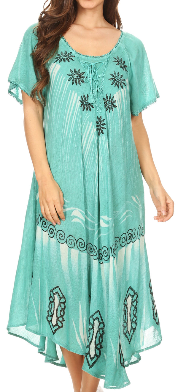 Sakkas Lida Womens Everyday Summer Relaxed Dress with Short Sleeves & Block Print#color_Aqua