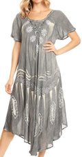Sakkas Lida Womens Everyday Summer Relaxed Dress with Short Sleeves & Block Print#color_Black