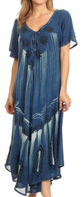 Sakkas Lida Womens Everyday Summer Relaxed Dress with Short Sleeves & Block Print#color_Blue