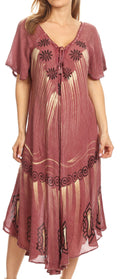 Sakkas Lida Womens Everyday Summer Relaxed Dress with Short Sleeves & Block Print#color_Burgandy