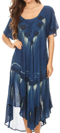 Sakkas Lida Womens Everyday Summer Relaxed Dress with Short Sleeves & Block Print#color_Denim Blue