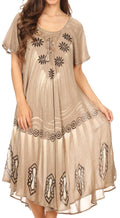 Sakkas Lida Womens Everyday Summer Relaxed Dress with Short Sleeves & Block Print#color_Khaki