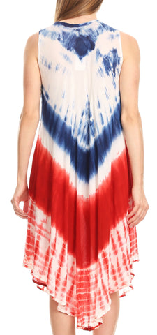 Sakkas Irina Stars and Stripes Patriotic Tie-Dye Summer Tank Dress  Casual Simple