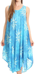 Sakkas Amanda Tie-dye Batik Summer Tank Mid Dress Relax Fit and Soft