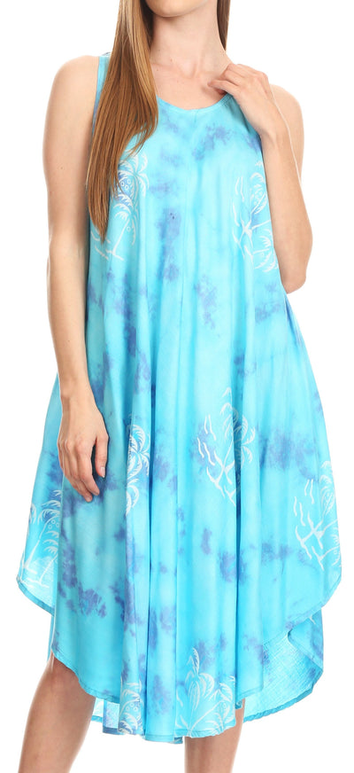 group-Turq (Sakkas Maddalena Summer Casual Relax fit Tank Dress Tie dye with Batik )