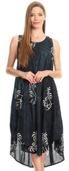 group-Black (Sakkas Maddalena Summer Casual Relax fit Tank Dress Tie dye with Batik )
