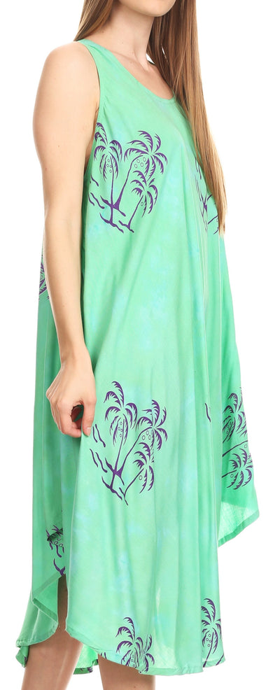 group-Green (Sakkas Maddalena Summer Casual Relax fit Tank Dress Tie dye with Batik )