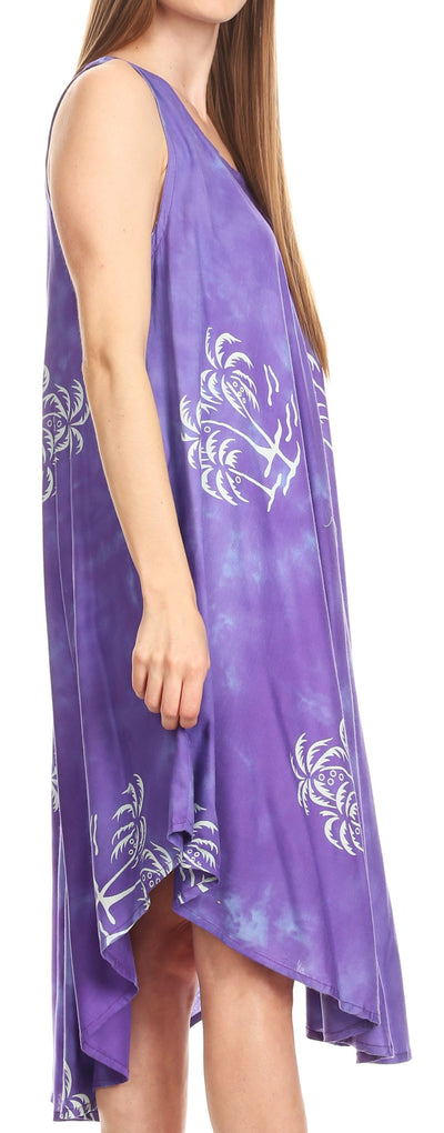 group-Purple (Sakkas Maddalena Summer Casual Relax fit Tank Dress Tie dye with Batik )