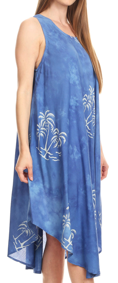 group-Royal Blue (Sakkas Maddalena Summer Casual Relax fit Tank Dress Tie dye with Batik )