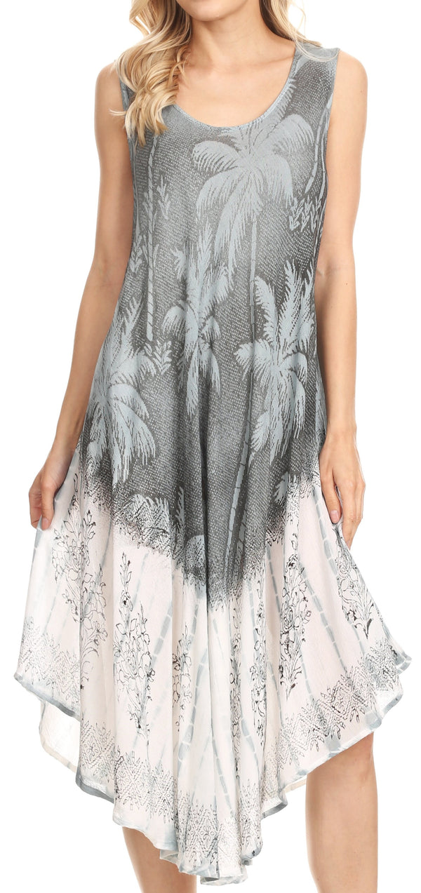 Sakkas Farzana Women Sleeveless Summer Caftan Midi Dress Tie-dye Light and Fresh#color_Charcoal