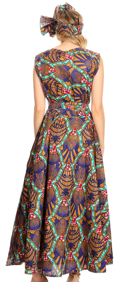 group-12-CamelMulti (Sakkas Beyaz Women's Maxi Sleeveless Wrap Long Dress with Pockets V neck African)