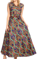 Sakkas Beyaz Women's Maxi Sleeveless Wrap Long Dress with Pockets V neck African#color_12-CamelMulti