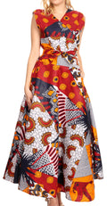 Sakkas Beyaz Women's Maxi Sleeveless Wrap Long Dress with Pockets V neck African#color_120-WhiteNavyRed