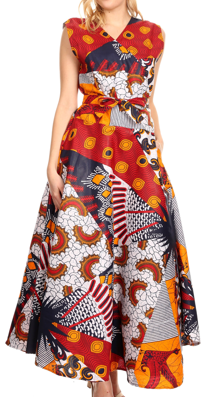 Sakkas Beyaz Women's Maxi Sleeveless Wrap Long Dress with Pockets V neck African