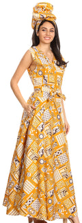 Sakkas Beyaz Women's Maxi Sleeveless Wrap Long Dress with Pockets V neck African#color_132-GoldMulti