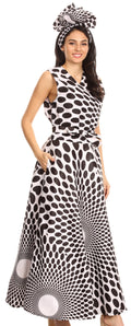 Sakkas Beyaz Women's Maxi Sleeveless Wrap Long Dress with Pockets V neck African#color_138-WhiteMulti