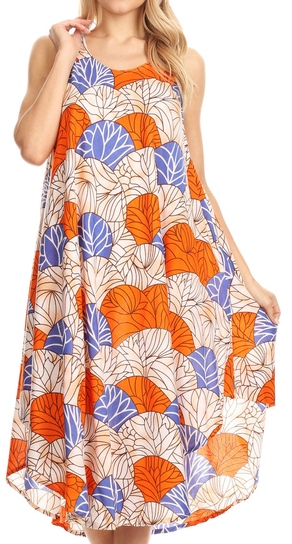 Sakkas Mikaela Summer Flowy Caftan Dress Cover-up Light & Casual#color_Blue / Orange