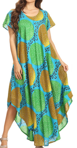 Sakkas Merve Womens Maxi Short Sleeve  Dress High Low on Ankara Print w/Pockets