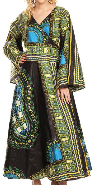 group-Black (Sakkas Esteva Women's African Dashiki Print V neck Maxi Long Sleeve Wrap Dress )