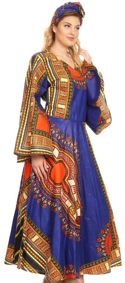 group-Navy (Sakkas Esteva Women's African Dashiki Print V neck Maxi Long Sleeve Wrap Dress )