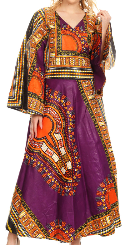group-Purple (Sakkas Esteva Women's African Dashiki Print V neck Maxi Long Sleeve Wrap Dress )