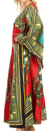 group-Red (Sakkas Esteva Women's African Dashiki Print V neck Maxi Long Sleeve Wrap Dress )