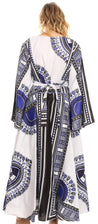 group-White (Sakkas Esteva Women's African Dashiki Print V neck Maxi Long Sleeve Wrap Dress )