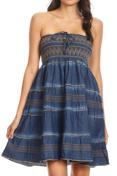 Sakkas Eva Womens Denim Strapless Tube Top Smock Short Sleeveless Dress Chambray