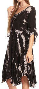 Sakkas Ceren Marble Dye Cascading Corset Dress with Handkerchief Sleeves