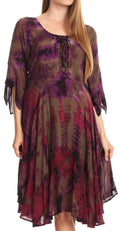 Sakkas Ceren Marble Dye Cascading Corset Dress with Handkerchief Sleeves #color_Brown