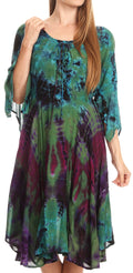 Sakkas Ceren Marble Dye Cascading Corset Dress with Handkerchief Sleeves #color_Green