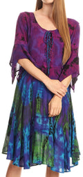Sakkas Ceren Marble Dye Cascading Corset Dress with Handkerchief Sleeves #color_Purple