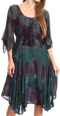Sakkas Ceren Marble Dye Cascading Corset Dress with Handkerchief Sleeves #color_Teal