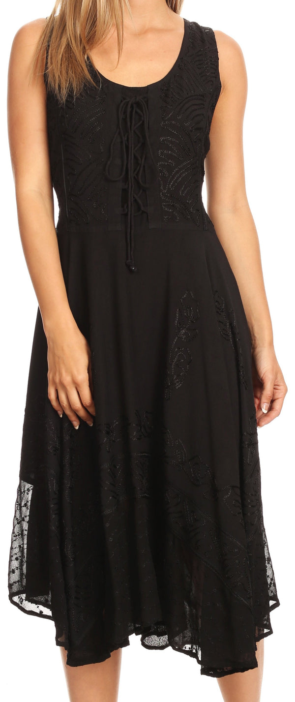 Sakkas Magdilena Stonewashed Corset Front Embroidered Dress#color_Black