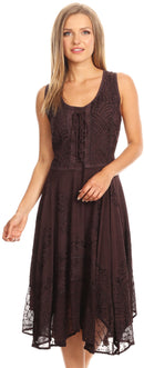 Sakkas Magdilena Stonewashed Corset Front Embroidered Dress