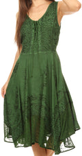 Sakkas Magdilena Stonewashed Corset Front Embroidered Dress#color_Green
