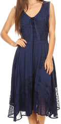 Sakkas Magdilena Stonewashed Corset Front Embroidered Dress#color_Navy
