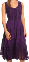 Sakkas Magdilena Stonewashed Corset Front Embroidered Dress#color_Purple