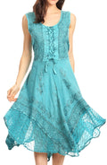 Sakkas Magdilena Stonewashed Corset Front Embroidered Dress#color_Turquoise
