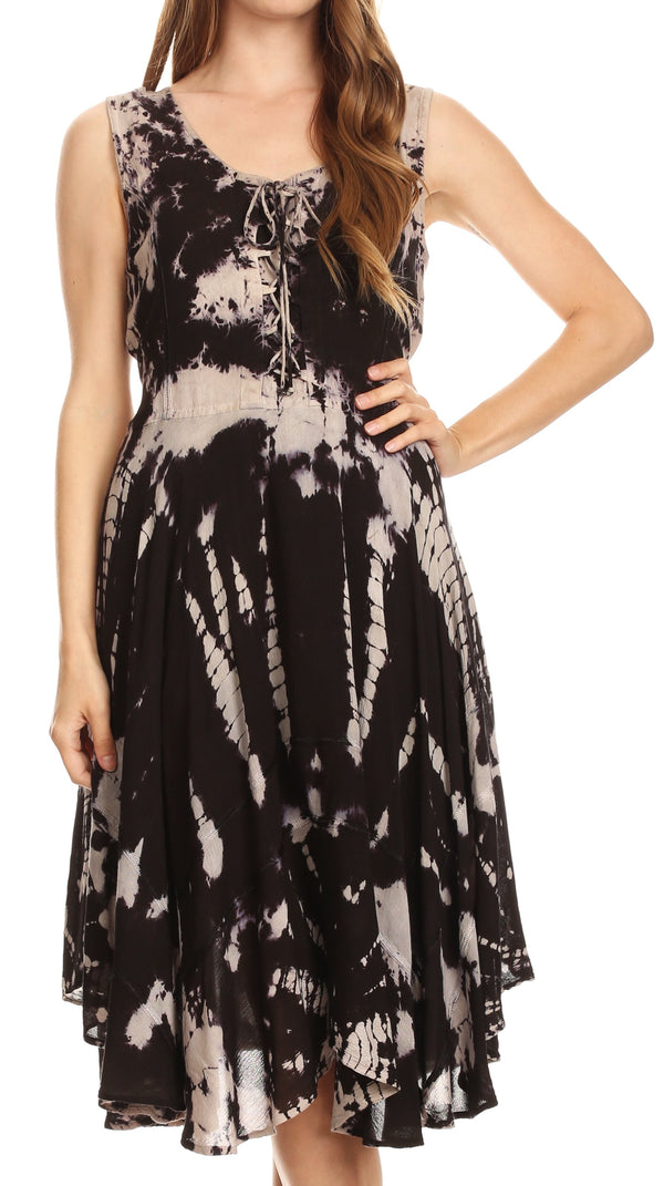 Sakkas Mathilde  Marble Tie-dye Sleeveless Tank Dress Tiered and Corset#color_Black