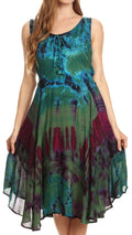 Sakkas Mathilde  Marble Tie-dye Sleeveless Tank Dress Tiered and Corset#color_Green